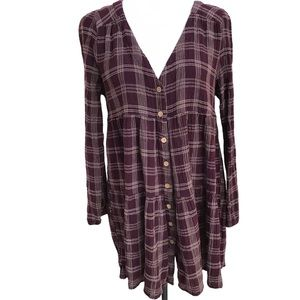 Harlow Long Sleeve Button Up Peasant Dress Sz L